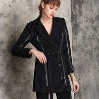 Women Fasion striped print formal suit jackets autumn double breasted zipper slim casual business workwear blazer outwear