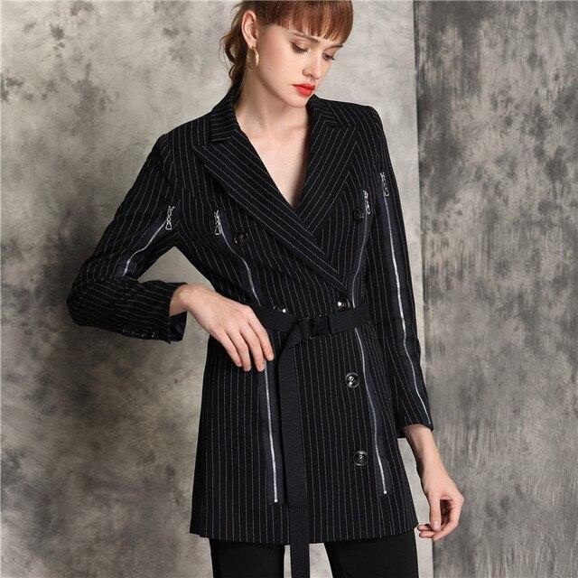 נשים Fasion פסים הדפסת פורמליות חליפת מעילי סתיו טור כפתורים כפול רוכסן slim מזדמן עסקי workwear בלייזר להאריך ימים יותר