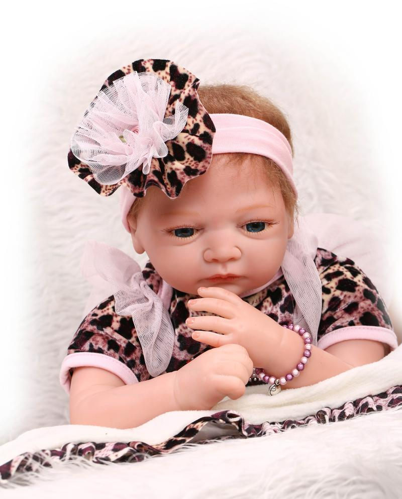 55CM Soft Silicone Reborn Baby Dolls 22inch Lifelike Vinyl Reborn Doll For Kids Girls Toy Gifts Leopard Bonecas Brinquedos 22inch reborn baby doll kits silicone vinyl head 3 4 arms and legs baby dolls lifelike doll accessories bonecas brinquedos