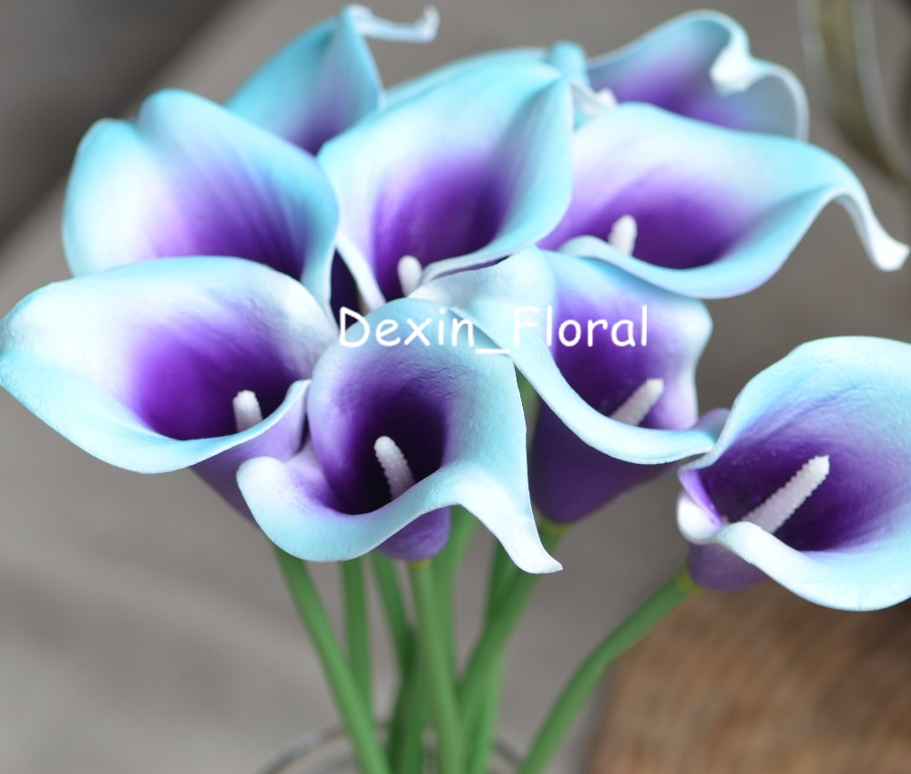 Aliexpress buy aqua blue purple picasso calla lilies real aliexpress buy aqua blue purple picasso calla lilies real touch flowers for silk wedding bouquets wedding decorations artificial calla lily from izmirmasajfo