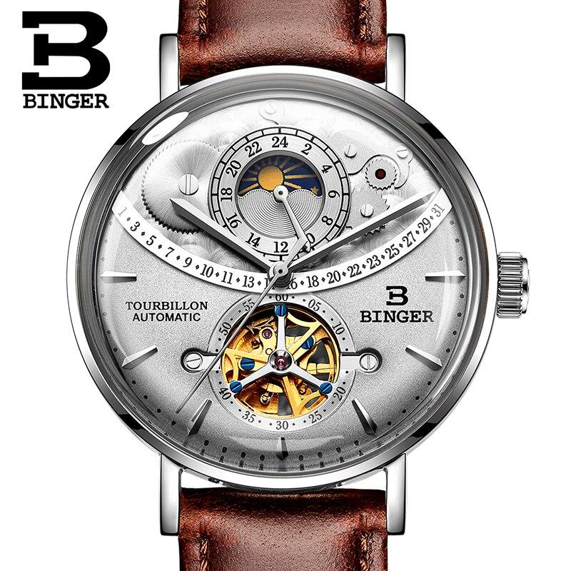 Suisse montre hommes BINGER automatique mécanique hommes montres de luxe marque saphir Relogio Masculino étanche hommes montre B 1 5-in Montres mécaniques from Montres    3