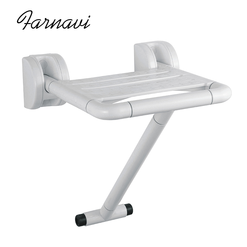 Wall Mounted Folding Shower Bath Seat Chair with Leg Support Fold Away Bathroom Spa Bench solid wood folding shower seat spacing saving wall mounted morden seat relaxation folding chair waiting chair wall chair