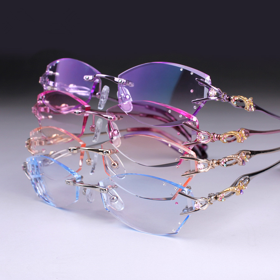 High Quality Prescription glasses Women Rimless Eye Customized Myopia hyperopia Progressive Multifocal Optical