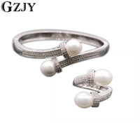 Graceful Jewelry Micro Inserts Cubic Zirvonia Pearl White Gold Plated Ring Bangle Set