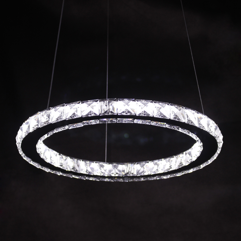 ФОТО Ecolight Modern Led Chandeliers Light Round Crystal Chandelier Light for Dinning Room 90-265V Stainless Steel