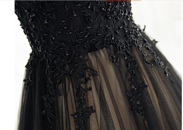 Nouveauté noir champagne dentelle appliques une ligne robe de bal cap manches haut cou court train robes de bal robes de bal modestes