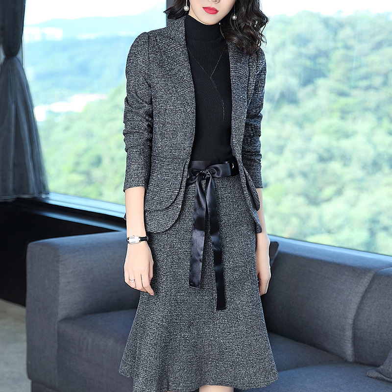 Blazer+Skirts Office Uniform Style Ladies Work Skirt Suits Womens Grey Skirt Blazer Outfits Two Piece Sets Female Business Suits цены онлайн