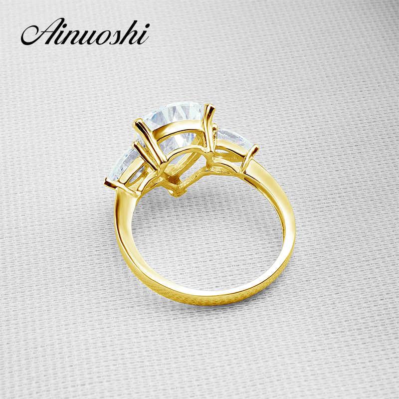 Ainuoshi 14 k sólido amarelo ouro tc coleção anéis de casamento corte pêra 4 ct simulado diamante aneis feminino anel de noivado feminino