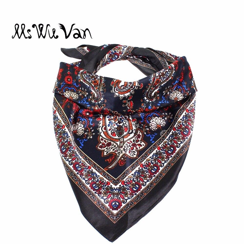 Paisley Bandana Men Floral Square Silk Scarf Satin Black Scarves For Women Printed Pastel Winter Lady Decorative 60x 60cm 100pcs