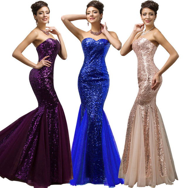 Hufanydrss Purple/Blue/Rose Gold Mermaid Prom Dress 2017 Sequined ...