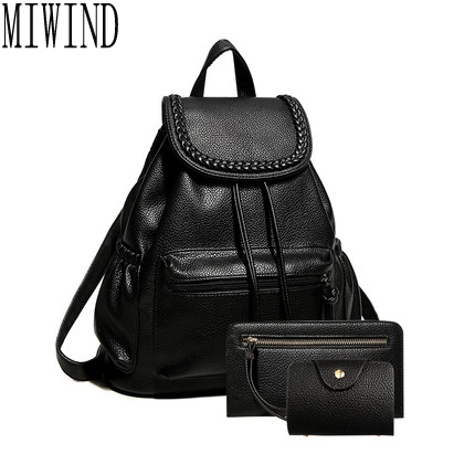 Women black leather backpack female fashion office bag ladies Bagpack Bags  Girls Casual Travel Bag back pack T339 9ad1cf9130