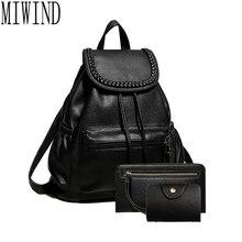 Женщины черный кожаный рюкзак женская мода офис сумка женская bagpack сумки девушки случайные сумка back pack t339