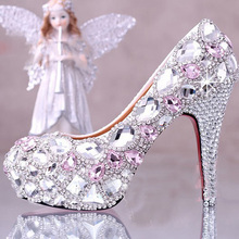 new autumn Pink crystal 4 Inches high-heeled bride shoes platform rhinestone wedding shoes Graduation Party Prom Shoes