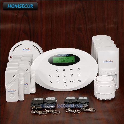 HOMSECUR Wireless APP Controlled GSM Burglar Alarm System With Smoke Detector