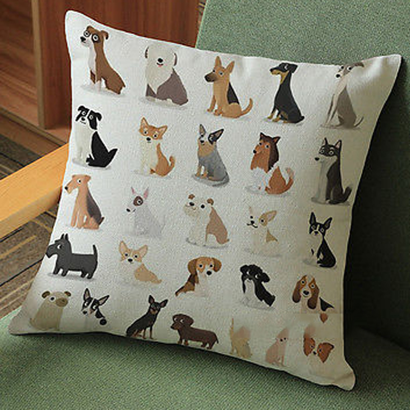 Dachshund Dog Pillows Cover Vintage Cat Dog Pillow Cases Cute Dog Cushion  Cover For Sofa Home