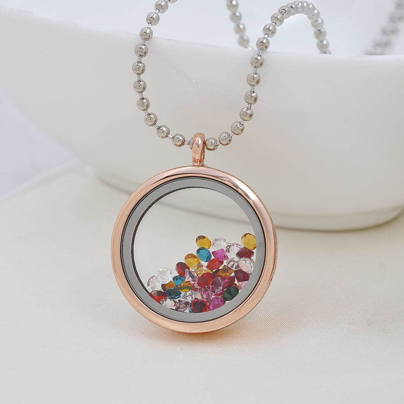 Rose gold round magnetic glass 316l stainless steel diy floating rose gold round magnetic glass 316l stainless steel diy floating charm locket pendant necklace glass locket charm necklace in pendants from jewelry aloadofball Images