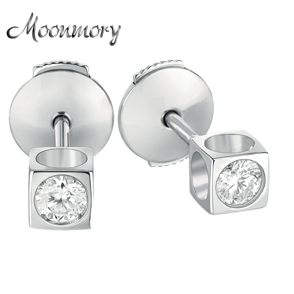 Moonmory 925 Sterling Silver Earring Square Shaped Stud Earring With a Clear Zircon For Girl Young Woman Fashion Jewelry Making
