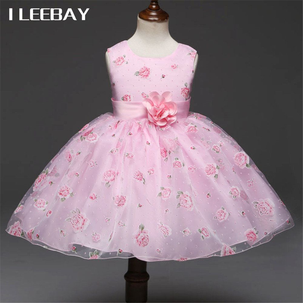 цены Baby Girls Princess Dress Brand Summer Style Flower Girl Wedding Dresses for Party Kids Clothes Children Floral Costume Vestidos