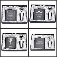 Set Of One Personalized Engraved 6oz Hip Flask Stainless Steel Funnel Gift Box 2 Glass Wedding