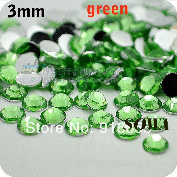 Free Shipping 2880pcs/bag SS12 Size 3mm Green Resin Flatback beads,Nail Art beads,DIY Wedding Decoration