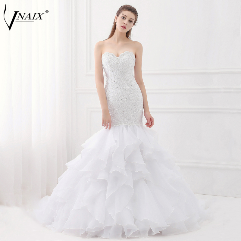 Vnaix W1455 Lace Mermaid Wedding Dresses Sweetheart Lace Up Back with Ruffles Skirt White Bridal Gowns vestido de novia