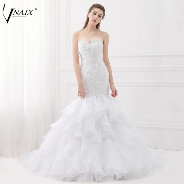Vnaix W1455 Lace Mermaid Wedding Dresses Sweetheart Lace Up Back