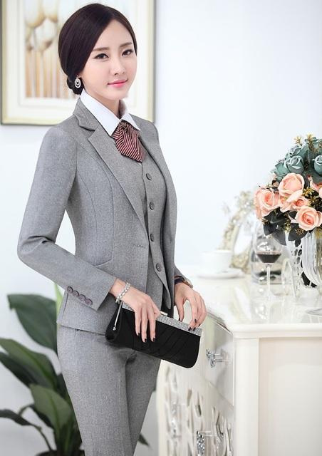 Novo 2015 Outono Inverno Formal Pantsuits Blazer Estilo Uniforme Com Jaquetas E Calças Calças Desgaste Do Trabalho Conjunto Profissional de Negócios