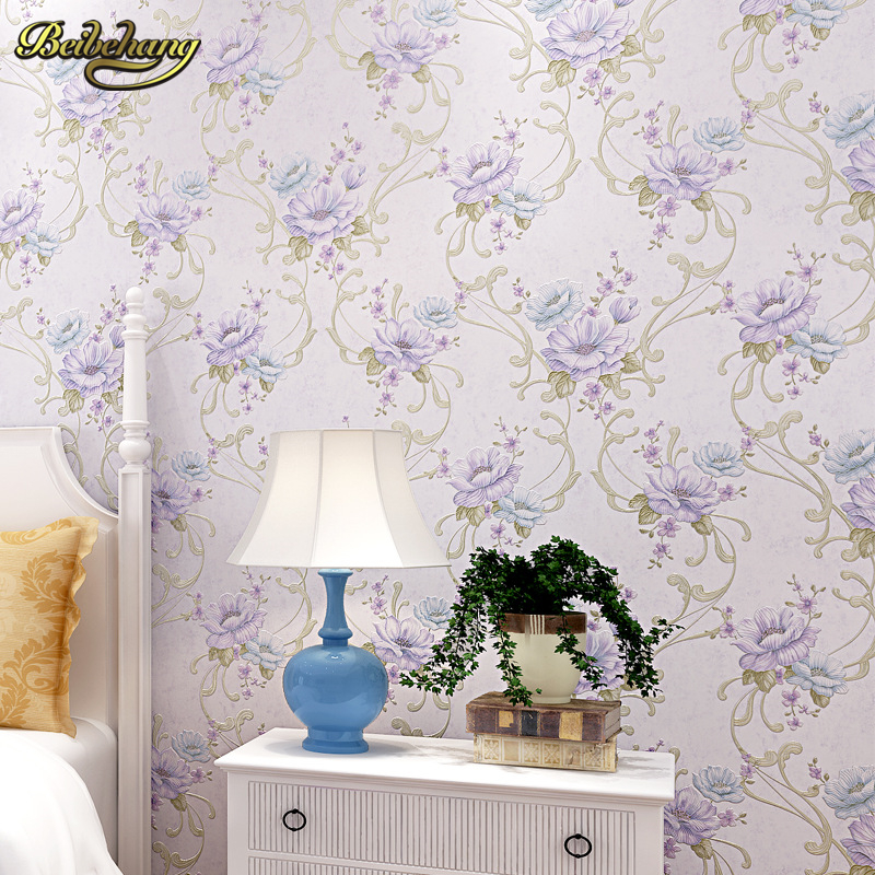 Pink Yellow Purple Blue Modern Flower Printed Wall Paper Floral Wallpaper Roll For Bedroom In Wallpapers From Home Improvement On Aliexpress