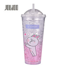 JOUDOO Summer New Cartoon Straw Frozen Bottle Double Cool Ice Men Women Outdoor Travel Portable Leakproof Drink 35