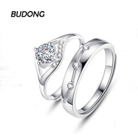 BUDONG עין טבעת זוג גברים ונשים גודל מתכוונן כלה תכשיטי יוקרת טבעת אירוסין 925 טבעת כסף עבור נשים