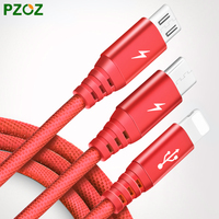 PZOZ 3 In 1 Cable Fast Charger Micro USB 8 Pin Type C Cable 1 2M