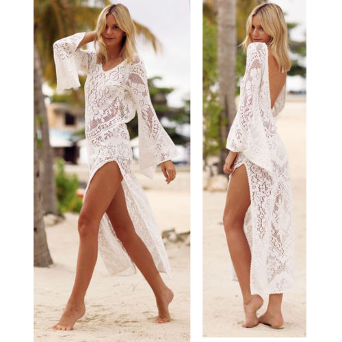 Beautiful Crochet Bikini Cover Up Tassels Beachdress Fishnet Beachwear Women Sexy Swimsuit Cover Up Tunic Long Pareos Robe Plage Beachwear Women's Clothing