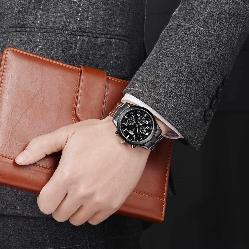 2019 メンズ Stainles 鋼腕時計シンプルなデジタル刻まホリデー 3 目カレンダー黒合金ダイヤルアナログクォーツ腕時計 5