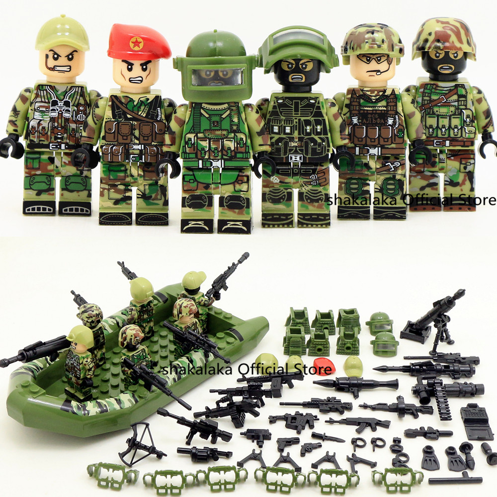 6pcs Alpha Force MILITARY Camouflage Soldier Boat SWAT US Army War DIY Building Blocks Bricks Figures Educational Toys Gift Boys guerre moderne lego