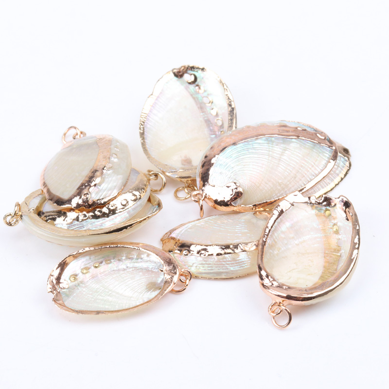 Sea Shell Concha Charm Natural Gold Tripping For Jewelry Making Handmade 2pcs 25-31mm TRS0156