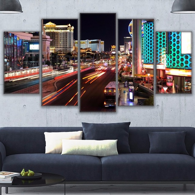 brand new 0eeb6 cefe3 5 Pieces Las Vegas Cityview Nightscape Wall Art Posters Modern Home  Decorative Modular Pictures Living Room Canvas Oil Paintings