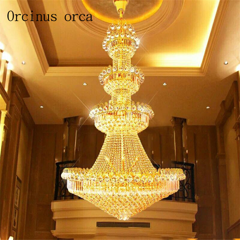Crystal Chandelier Penthouse Floor Living Room Chandelier European Style Villa Hall Hotel Chandelier Lamp For Stairs
