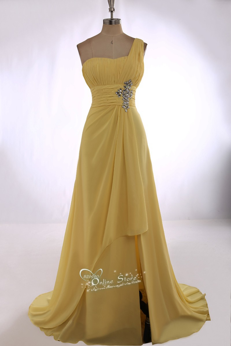 2015 New Exquisite A Line One Shoulder Crystal Sleeveless Long Chiffon Vestidos Formal Evening font b