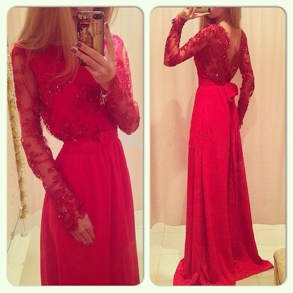 free shipping Glamorous sexy Backless red lace long Prom party gown 2018 Applique Floor length Long sleeve   bridesmaid     dresses