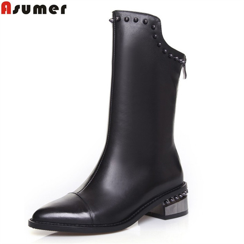 ASUMER 2018 hot sale new arrive women boots fashion zipper black genuine leather pointed toe ladies boots simple mid calf boots 2018 new arrival fashion winter shoe genuine leather pointed toe high heel handmade party runway zipper women mid calf boots l11