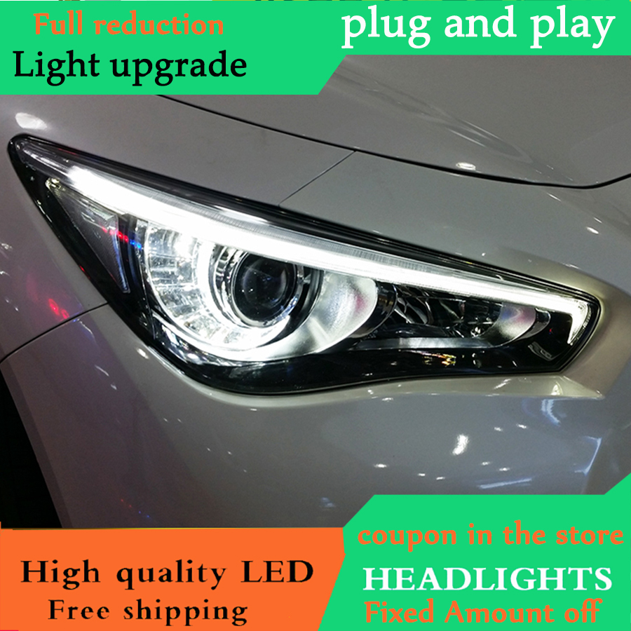 D_YL Car Styling For Infiniti Q50L headlights 2014 2018 For Q50L Full LED head lamp led DRL front Bi Xenon Lens Double Beam-in Car Light Assembly from Automobiles & Motorcycles    1