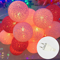 3.3M Waterproof 220V 20LEDs Holiday String Light Cotton Ball Fairy Led Festival Lantern Wedding Party Xmas Decor Lights EU Plug