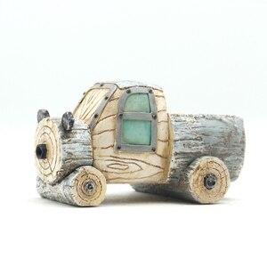 Image 3 - Roogo ジセラミックフラワーポットレトロ木材パイルシリーズモスポットガーデン用品装飾花瓶と多肉植物花ケース樹脂おもちゃの車ギフト