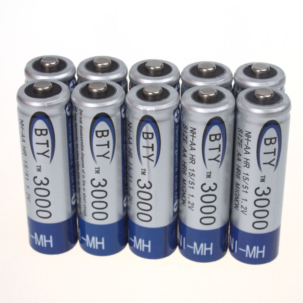 AAA Quality 12 Pcs AA LR06 3000mAh 1.2V NI-MH Rechargeable Battery CELL/RC 2A BTY