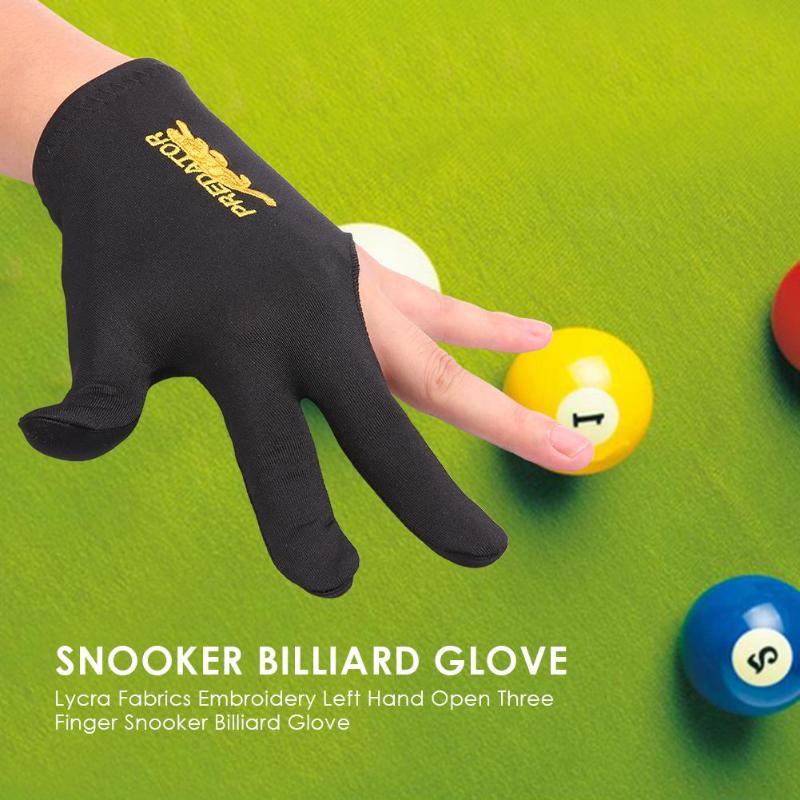 New Lycra Fabrics Embroidery Left Hand Open Three Finger Snooker Billiard Cue Glove Pool Fitness Accessories Dropshipping