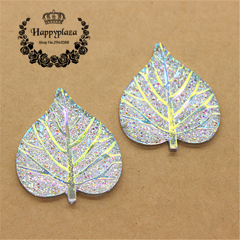 New 10PCS 33*39mm Cute Silver Bling AB Heart Leaf Flatback Cabochon Appliques/Wedding Decoration Craft