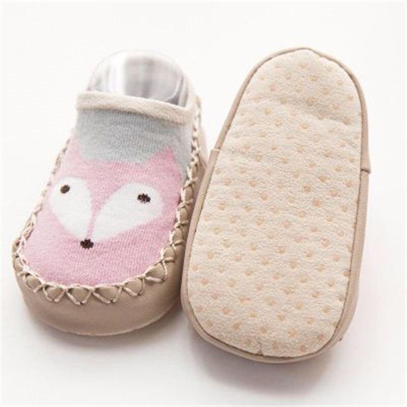 Baby Shoes Socks Infant Cartoon Indoor Floor Socks Leather Sole Non-Slip Thick Towel Shoe 1
