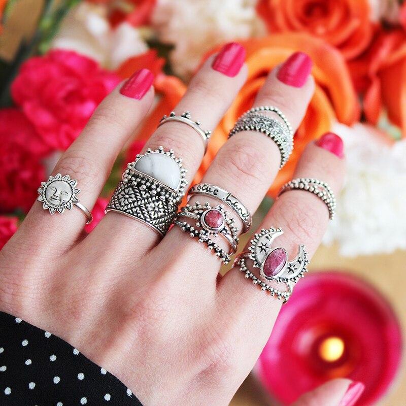 Nové módní české svatební prohlášení šperky Red Boho pryskyřice Sun Moon 14ks / sady Vintage Silver Knuckle prsteny pro ženy