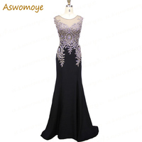 100% Real Photo 2019 New Stylish Appliques Gold Embroidery Mermaid Evening Dress Long Evening Gowns Party Formal Dresses Evening Dresses