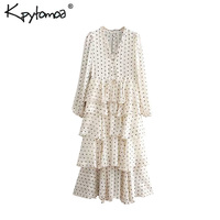 Vintage Sweet Polka Dot Print Ruffles Long Dress Women 2019 Fashion V Neck Long Sleeve Ladies Dresses Casual Vestidos Mujer